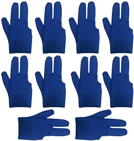 lasenersm 10 Pieces Billiard Gloves 3 Finger Billiard Gloves Pool Cue Gloves 3 Fingers Show Gloves Snooker Gloves Wear on The Right or Left Hand for Men Women, Blue