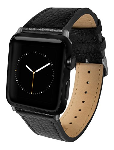 Apple Watch Band, Top-Grain Genuine Leather Watchband for 38mm Apple Watch by Silk - Secure Metal Buckle & Adjustable Strap - (Black Leather) (Buckle Silk)