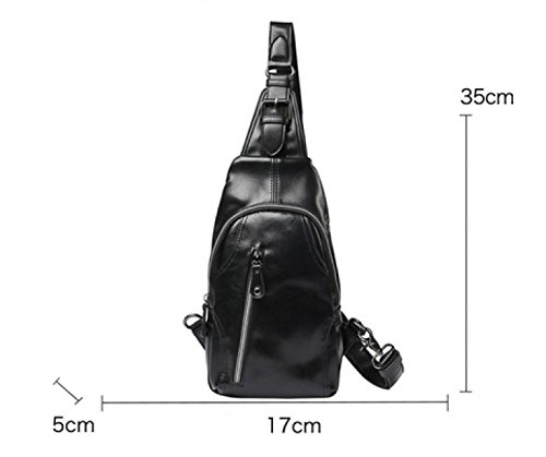Package Business Leisure Men Black Chest Shoulder Pu Backpack purpose Messenger Bag Multi Travel Laidaye wfXvqgxC
