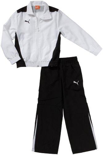 Puma Boys Tracksuit Foundation Woven Kids Tracksuit Top Pants Black, White New (140, (Puma Cat Woven Pant)