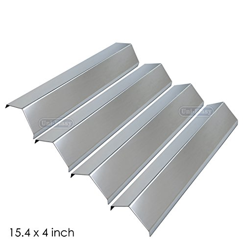 Uniflasy Stainless Steel Gas Grill Heat Shield Plate Flavorizer Bar Burner Cover Flame Tamer Replacement Parts for Aussie, Browning, Brinkmann, Charmglow, Grill King, Master Forge, Tera Gear, Uniflame (Stainless Burner Cover)