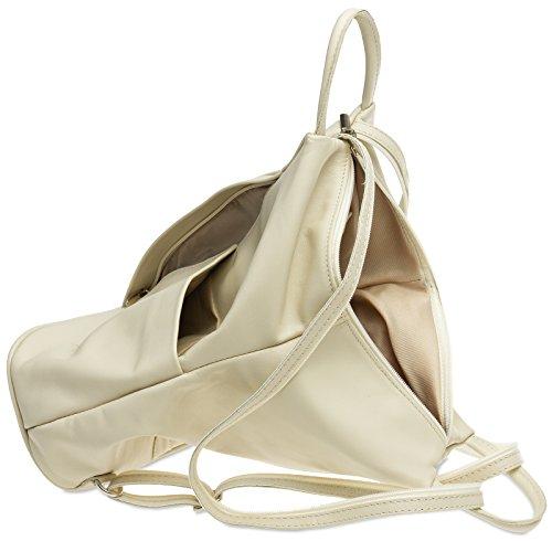 2 in Backpack Caspar Leather City Women Genuine shoulder Bag Made Beige 1 Of Tl782 fwxaqaE5