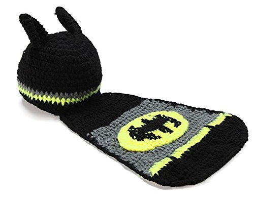 FUNY Newborn Costume Crochet Outfits Photo Clothing Baby Girls Boys Cute Photograph Props Handmade Knitted Cap Pants Set (Batman) -