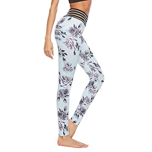 Serzul Hot!! Print Trousers Yoga Leggings Ladies Sexy Openwork Stitching Pants Lace Skinny Sweatpants Light Blue