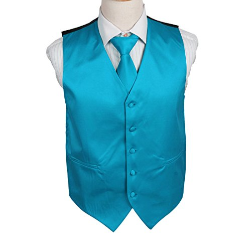 DGDE0021-XL Dodger Blue Solid Microfiber Evening Dress Vests Satin Vest Matching Tie By Dan ()