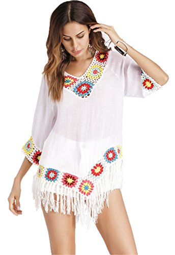 Arctic Cubic 3/4 Sleeve Deep V Neck Crochet Baroque Ethnic Tribal African Fringe Hem Swing Trapeze Blouse Shirt Top White