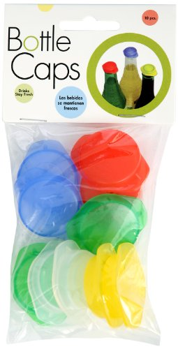 Linden Sweden Reusable Plastic Bottle Caps, Set of 10 - Save Beverages, Prevent Spillage - Assorted Colors for Easy Organization - Dishwasher-Safe - BPA-Free