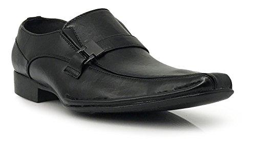Enzo Romeo Sun03 Menns Kjole Loafers Elastisk Slip På Med Spenne Mote Kjole Sko Svart