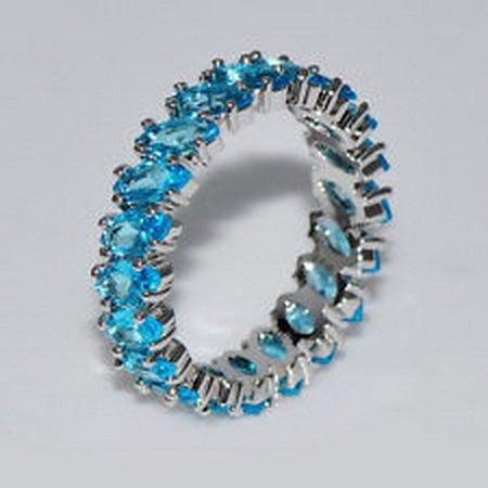 [jacob alex ring Aquamarine Black Gem Stacking Full Engagement Band Size 7 Women's Ring Jewelry] (Classic Playboy Bunny Costume Black)