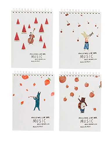 What's Fun 4 Assorted Covers Art Sketch Book-A4 11.7''×8.3'' 100g 50 Sheets Pack of 4 (Music & Fruit)