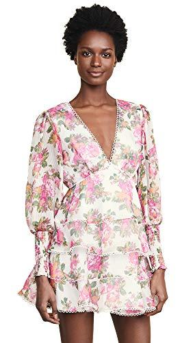 Keepsake The Label Women's Oblivion Long Sleeve Plunging Fit & Flare Mini Dress, Ivory Rose Floral, m