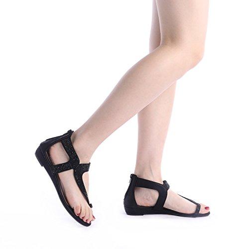 PAIRS 02 Low Sandals Rhinestones WEITZ Black DREAM Fashion Women's Wedge dt1wvdYq