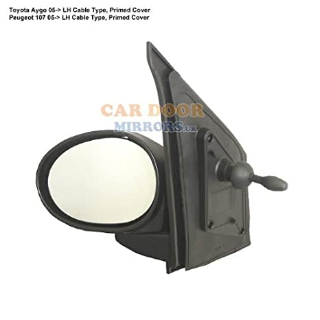 Primed,LH ,2003 to 2008 Citroen C1 Complete Mirror Unit-Cable Control-Manual Passenger Side