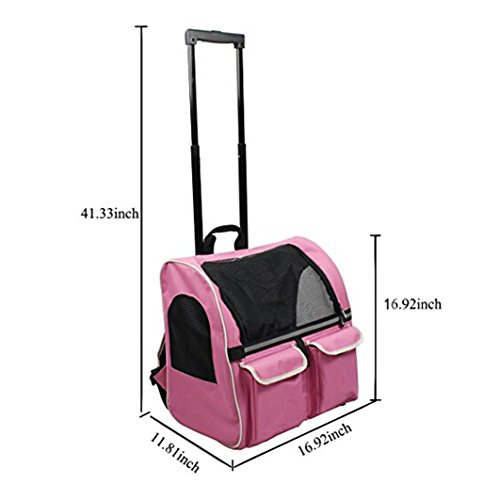 Meiying Roll Around 4-in-1 Pet Carrier Travel Backpack for Dogs and Cats Travel Tote Airline Approved (Pets up to 17 Pounds, Pink) by Meiying (Image #3)