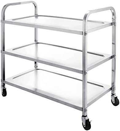LOVSHARE Utility Cart Kitchen Carts With Storage Stainless Steel All-Purpose Industrial Cart With Wheels 3-Shelf with Armrest