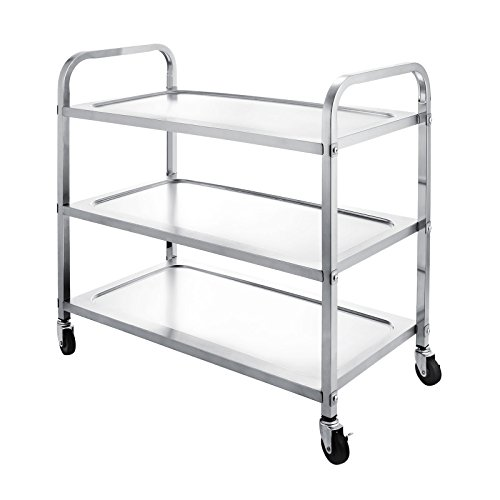 OrangeA Utility Cart 3 Shelf Utility Cart on Wheels 330Lbs Stainless Steel Cart Commercial Bus Cart Kitchen Food Catering Rolling Dolly (3 Shelf) (3 Shelf Stainless Steel Cart)