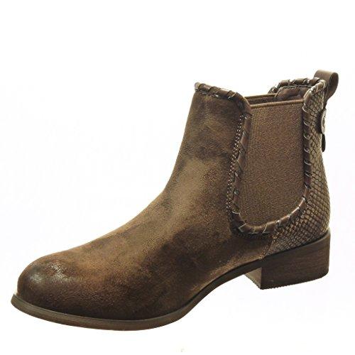 Angkorly - Zapatillas de Moda Botines chelsea boots bimaterial mujer piel de serpiente tachonado Talón Tacón ancho 3 CM - plantilla Forrada de Piel - Marrón