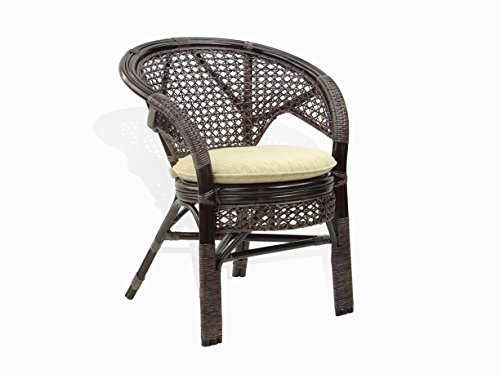 Amazon.com   Pelangi Handmade Rattan Dining Wicker Chair W/cushion, Dark  Brown   Chairs