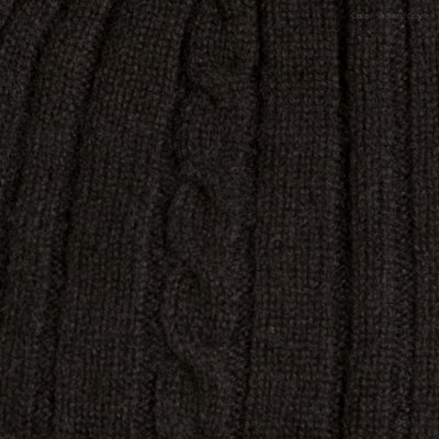 Fishers Finery Women's Cashmere Cable Knitted Scarf; Christmas Gift (Black) by Fishers Finery (Image #2)