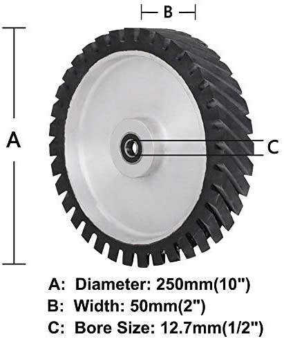 10 Inch Belt Grinder Rubber Wheel Serrated Rubber Belt Grinder Sander Wheel for Bearings Belt Grind-Bearing 12.7mm