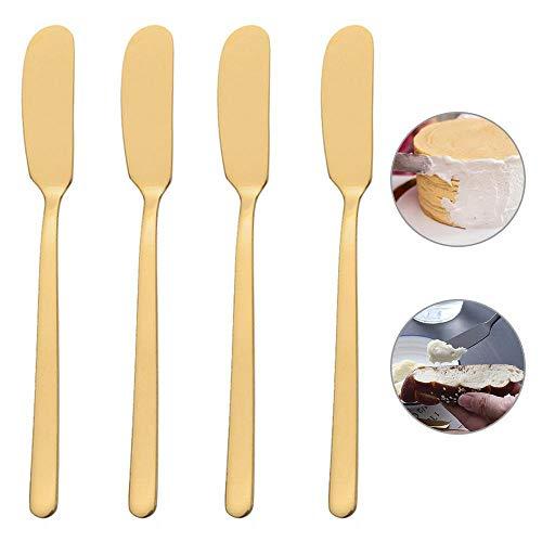 FOONEE Jam Knives, Stainless Steel Butter Knife Breakfast Spreads Butter Applicator, Jam Spreader 4 Pcs Mirror Polished Design Spreader Knife Set for Cream Peanut Multi-Color Optional 6.6inch/16.8cm