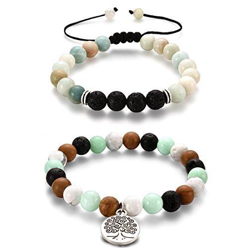 - 2pcs Charm Beads Bracelets, Yoga Energy Beads Handcrafted Braided Macrame Elastic String Tiger Eye Amazonite Gemstone Bead HC001-2Pcs