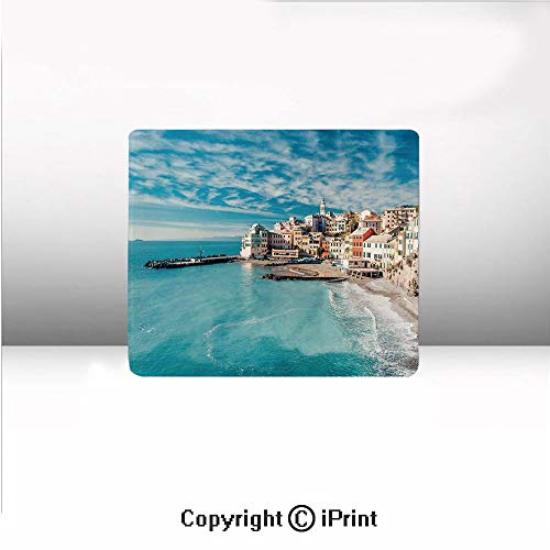 Non-Slip Small Mouse pad,Panorama of Old Italian Fish Village Beach Old Province Coastal Charm Image,8.2