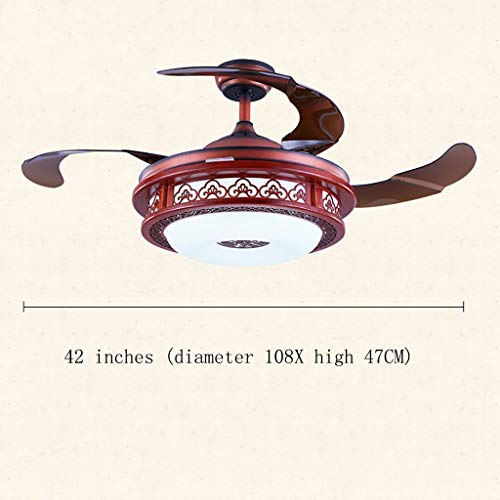 (42'' Invisible Fan Light, China Wind LED Stealth Blade Remote Control Dimming Fan Light Home Bedroom Fan Chandelier (4 Blades) (Color : B))