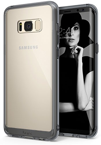 Ringke Fusion Compatible with Galaxy S8 Plus Case Transparent PC Back TPU Bumper Raised Bezels Scratch Protection Qi Wireless Charging Compatible Cover for Samsung Galaxy S8 Plus - Smoke Black