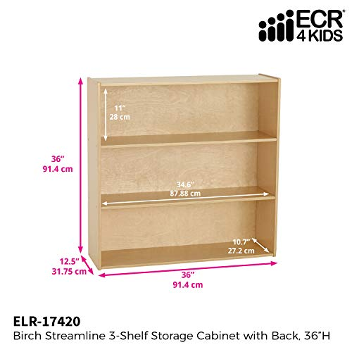 "ECR4Kids Birch Streamline 3-Shelf Storage Cabinet with Back, Wood Book Shelf Organizer/Toy Storage for Kids, 36"" Tall - Natural"