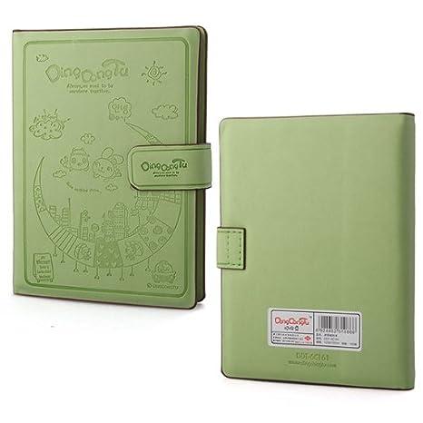 Libreta Agenda Cuaderno Diario Tapa Dura Cuero Verde Cierre ...