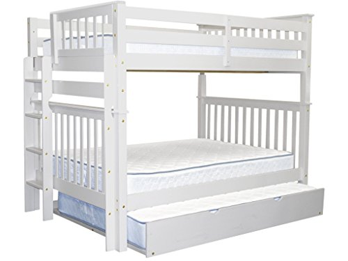 Bedz King Bunk Beds Full over Full Mission Style with End Ladder and a Full Trundle, White by Bedz King