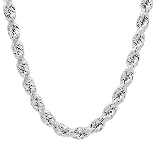 - Mens Italian 925 Sterling Silver Damond Cut Rope Chain Necklace, 5MM, 6MM, 7.5MM,8.5MM- Mens Rope Chain, Sterling Silver Rope Chain Necklace For Men, Mens Rope Chain Bracelet