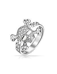 Bling Jewelry Skull Crossbones Ring 925 Sterling Silver Filigree Band
