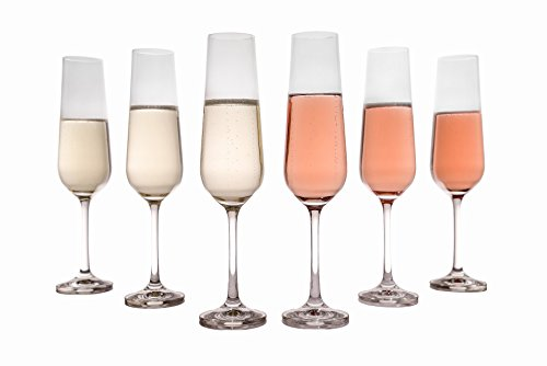Crystal Champagne Flutes (Set of 6), Tall, Wedding, Bridal  - Made in Europe, 6.8 Ounces by Crystalex