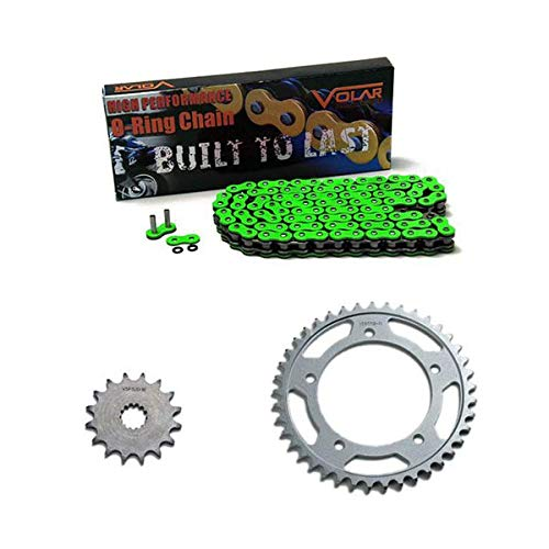 Volar O-Ring Chain and Sprocket Kit Green (530 conv) for 2006-2020 Yamaha YZF R6