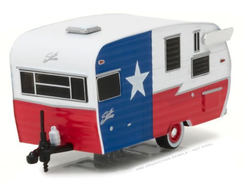 NEW 1:64 GREENLIGHT HITCHED HOMES SERIES 2 COLLECTION - RED WHITE BLUE SHASTA 15' AIRFLYTE TRAVEL TRAILER Diecast Model Car By GreenLight