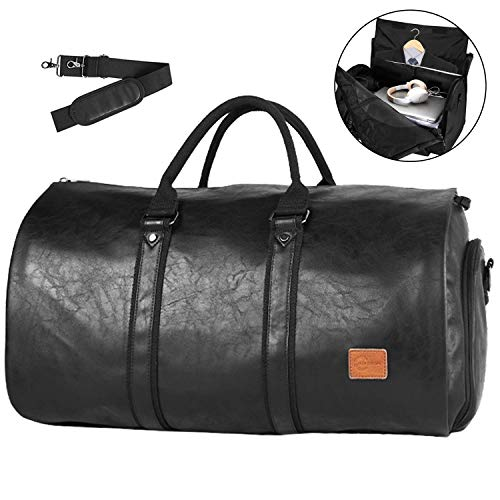 (Convertible Travel Garment Bag,Carry on Leather Garment Duffel Bag for Men Women - 2 in 1 Hanging Suitcase Suit Business Travel Bag)