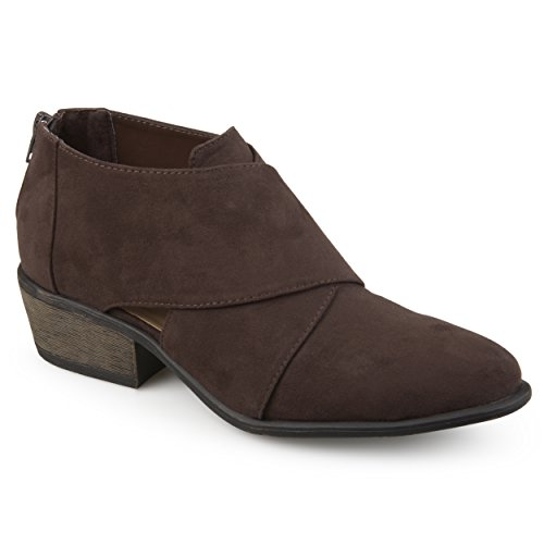Journee Crossover Booties Suede Brown Womens Collection Faux rwqZx17r