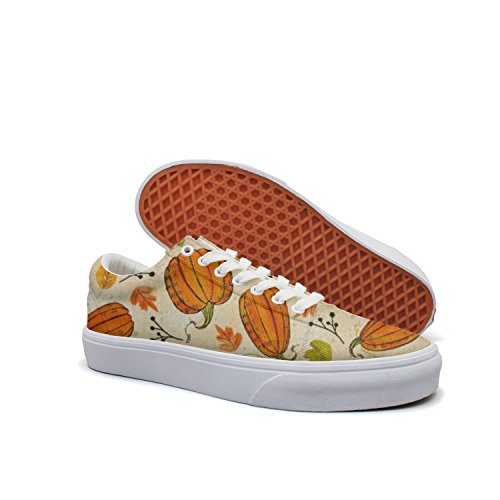 Backdrop Smith - VCERTHDF Print Trendy Autumn Road Pumpkins Low Top Canvas Sneakers