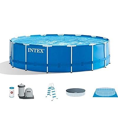 "Intex 15' x 48"" Metal Frame Above Ground Swimming Pool Set w/Pump Cover LadderIntex Cleaning Maintenance Swimming Pool Kit w/Vacuum Skimmer & Pole | 28002E"