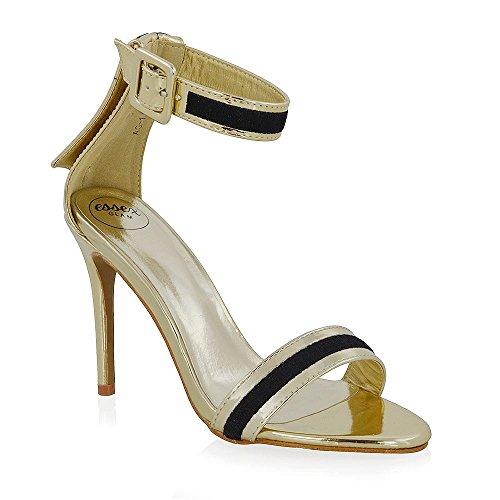 Essex Glam Womens Stilett Öppen Tå Klackar Gäng Detalj Parti Sandaler Guld Metalliska