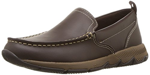 Hush Puppies Boys' School Moccasin TS Field Sneaker, Brown, 3 Medium US Little Kid