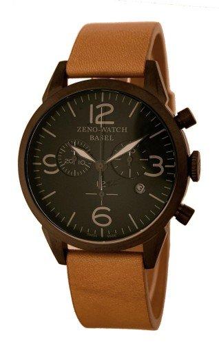 Zeno Reloj Analógico para Hombre de Cuarzo con Correa en Cuero 4773Q-BK-I1
