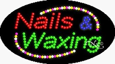 Nails & Waxing Animated Flashing LED Window Sign