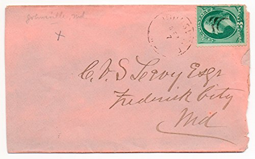 (US Postal Cover 1880's Canceled Johnsville MD Dec 7 With Washington Postage Stamp 3 Cent Scott #147)