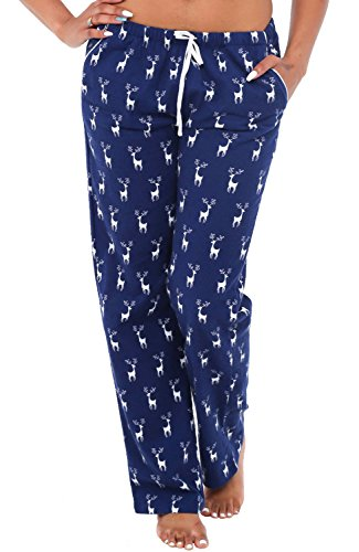 Alexander Del Rossa Womens Flannel Pajama Pants, Long Cotton Pj Bottoms, Medium Reindeer on Navy Blue (A0703Q80MD) (Reindeer Flannel)