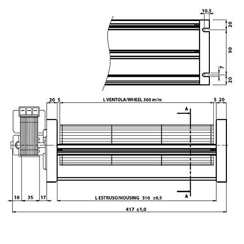 Easyricambi im9t para Estufa de pellets Emmevi fergas 149508 tgo 80/1 300/35 149508 Largo 417 mm Ventilador 80 mm Boquilla 310 x 44 mm: Amazon.es: Hogar