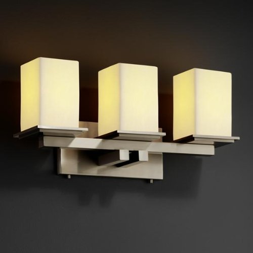Justice Design Group CandleAria 3-Light Bath Bar - Brushed Nickel Finish with Cream Faux Candle Resin Shade
