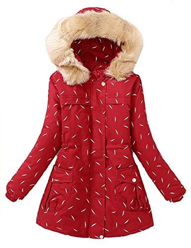 Coat Mujer Casuales Con Abrigos Impresión Invierno Bolsillos Capucha Moda Elegante Chaquetas Capa Larga Colmar Rot Cremallera Otoño Vintage Outerwear Ligeramente Ropa Manga B0qzdw